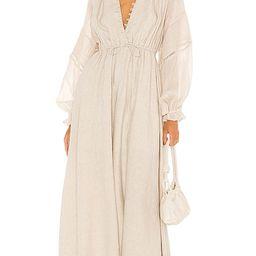 Melinda Linen Maxi Dress in Flax | Revolve Clothing (Global)