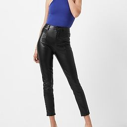 Super High Waisted Faux Leather Moto Skinny Pant   Express