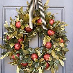Fall Wreath -Pomegranate Wreath, Autumn Wreath Frame for Front Door Hanger, Rustic Simple Farmhou...   Amazon (US)