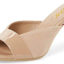 YDN Women Trendy Peep Toe Mid Heel Pumps Slip on Mules Slide Slipper Stiletto Shoes | Amazon (US)