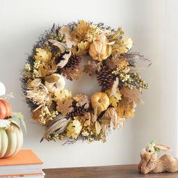 "Way to Celebrate Harvest Cream Glittered Pumpkin Wreath 24"" - Walmart.com   Walmart (US)"