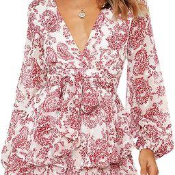 AIMCOO Women's Floral Print Deep V-Neck Romper Double Layer Ruffle Hem Jumpsuits Long Baggy Sleev... | Amazon (US)