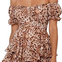 Linsery Women Boho Off Shoulder Romper Floral Print Tie Back Ruffle Hem Chiffon Short Jumpsuit   Amazon (US)