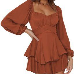 Linsery Women Boho Off Shoulder Romper Floral Print Tie Back Ruffle Hem Chiffon Short Jumpsuit | Amazon (US)