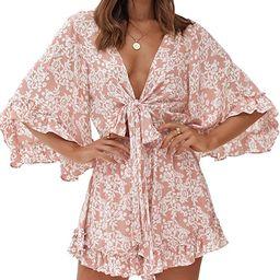 imesrun Womens Deep V Neck Playsuits Elastic Waist Floral Ruffle Summer Jumpsuit Rompers | Amazon (US)