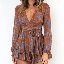 Relipop Women's Jumpsuit Floral Print V Neck Baggy Sleeve Waist Tie Double Layer Ruffle Hem Short... | Amazon (US)