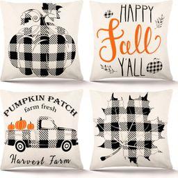 DecorX Fall Pillow Covers 18×18 Inch Set of 4 Fall Decor for Home Autumn Farmhouse Buffalo Plaid... | Walmart (US)