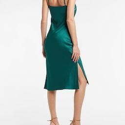 Satin Cowl Neck Midi Slip Dress   Express