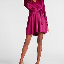 Satin Tie Waist Long Sleeve Mini Dress   Express