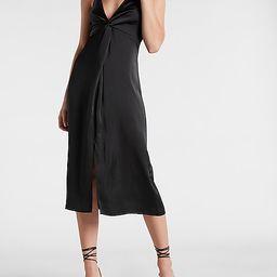 Satin Twist Front Slip Dress   Express