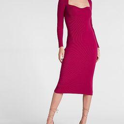 Sweetheart Neckline Midi Sweater Dress   Express