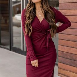 Daring Heart Ribbed Midi Burgundy Dress | The Pink Lily Boutique