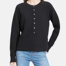 Buttoned Henley Top in Ribbed Cotton | Theory Outlet