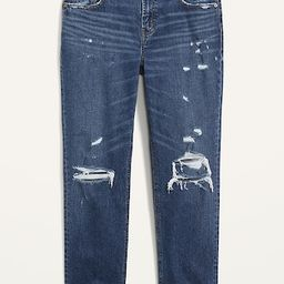 Mid-Rise Ripped Boyfriend Straight Jeans for Women   Old Navy (US)