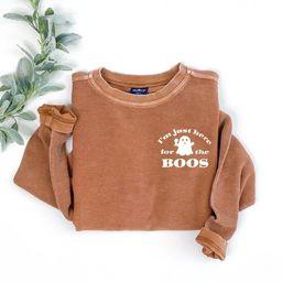 Here for the boos, fall shirt, pumpkin spice shirt, cute fall shirt, halloween sweatshirt, fall s... | Etsy (US)