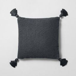 """18"""" x 18"""" Textured Cotton Flare Tassel Throw Pillow Gray - Hearth & Hand™ with Magnolia   Target"""