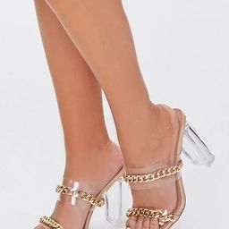 Chain-Strap Lucite Block Heels | Forever 21 (US)