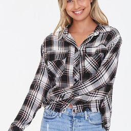 Frayed High-Low Plaid Shirt | Forever 21 (US)