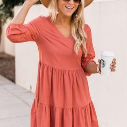 Not Mistaken Terracotta 3/4 Sleeve Babydoll Dress | The Pink Lily Boutique