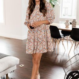 Electric Nights Rust Floral Babydoll Dress | The Pink Lily Boutique