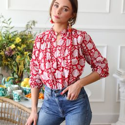Shop Mille - Francesca Top in Red Zinnia   Mille