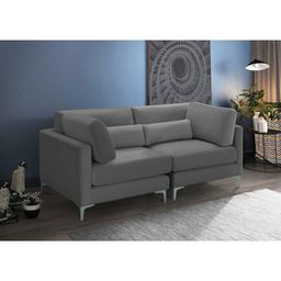 Tyndalls Park 75'' Velvet Square Arm Loveseat with Reversible Cushions   Wayfair North America
