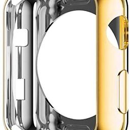 HANKN Compatible with Apple Watch Series 3 2 1 42mm Case, Soft TPU Plated Shiny Cover Iwatch Bump... | Amazon (US)