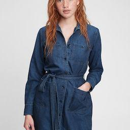 Tie-Waist Denim Mini Dress   Gap (US)