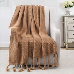 Revdomfly Brown Throw Blanket Knitted Throw Blanket with Fringe Tassels Warm Cozy Woven Blankets ...   Amazon (US)