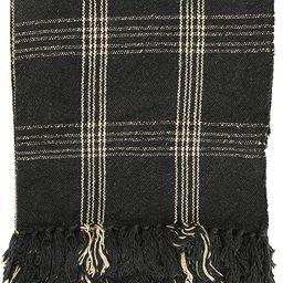 Creative Co-op DF3609 Plaid Black & Tan Fringed Woven Cotton Blend Throw, Black   Amazon (US)