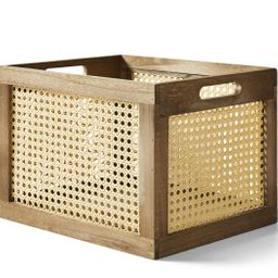 Better Homes & Gardens Large Wood and Poly Rattan Cane Weave Storage Crate - Walmart.com   Walmart (US)