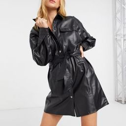 ASOS DESIGN leather-look button-through belted mini shirt dress in black   ASOS (Global)
