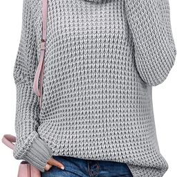 ZESICA Womens Turtleneck Long Sleeve Waffle Knit Casual Loose Pullover Sweater Jumper Tops | Amazon (US)