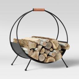 "20"" x 14"" Iron Log Holder with Wood Handle Black - Threshold™ | Target"