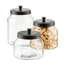 1.6 qt. Glass Canister Black Matte Lid | The Container Store