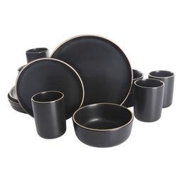 Gap Home 16-Piece Round Black Stoneware Dinnerware Set - Walmart.com | Walmart (US)