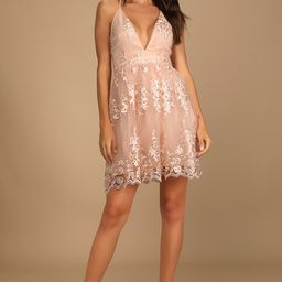 A Love To Remember Blush Lace Backless Skater Dress | Lulus (US)