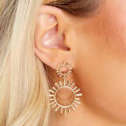 Catching Sunrise Gold Earrings | Red Dress