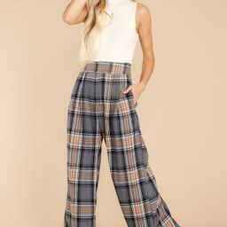 Official Glam Grey And Caramel Plaid Pants | Red Dress
