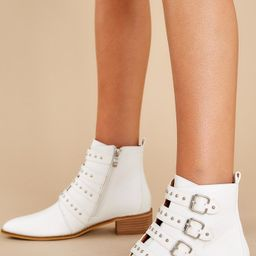City Girl White Ankle Booties | Red Dress