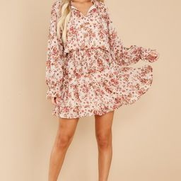 Whisper My Name Natural Floral Print Dress | Red Dress