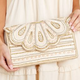 Awaited Perfection Sand Multi Beaded Clutch   Red Dress