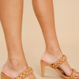 The Final Step Camel Braided Heels   Red Dress