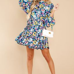 Touch Of Kindness Blue Multi Floral Print Dress | Red Dress