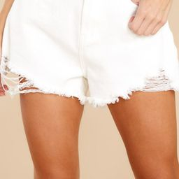 At Peace White Distressed Denim Shorts | Red Dress