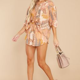 Blooming Blissfulness Apricot Multi Print Top | Red Dress