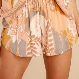 Abstract Beginnings Apricot Multi Print Shorts | Red Dress