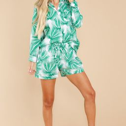 Palm Fans Green And Ivory Print Pajama Set | Red Dress