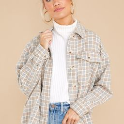 More To See Beige Multi Plaid Shacket | Red Dress