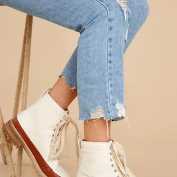 New Paths Ivory And Cognac Lace-Up Boots | Red Dress